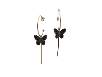 Butterfly Hoops with Black Zircon
