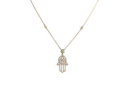 "Diamond Pendant ""hand Of Fatima"" With Gold Necklace"