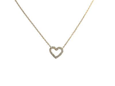 Heart Diamond Pendant With Gold Necklace