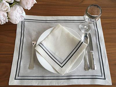 2 Lines Linen Placemats-Set of 12