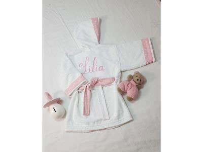Baby Girl Bathrobe with Embroidered Name (0-3Y)