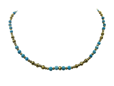 Choker Turquoise & Gold Emathyte
