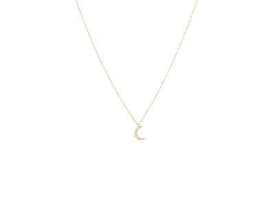 Gold Necklace Moon with White Diamonds