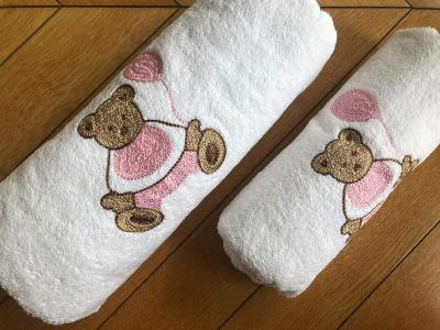 Pink Teddy Bear Set of 2 Towels