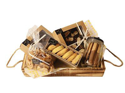 Medium Wooden Tray Filled With Goodies