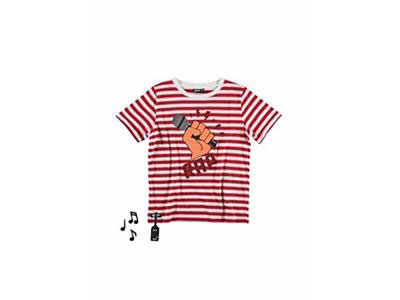 Red Stripe Tee With Rap Music Sound