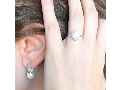 Floral Pearl Earrings and Ring Set