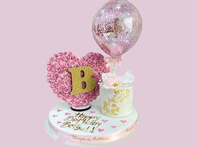 Single Birthday Cake with Heart Flower Letter and Balloon